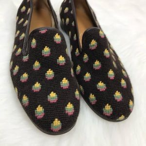 Stubbs & Wootton Brown Woven Pattern Flat Loafers